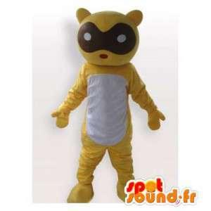 Geel teddy mascotte, met...