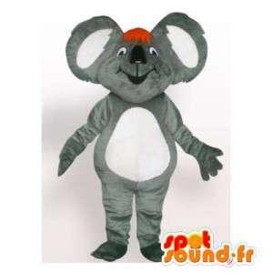 Mascotte de koala gris et blanc. Costume de koala