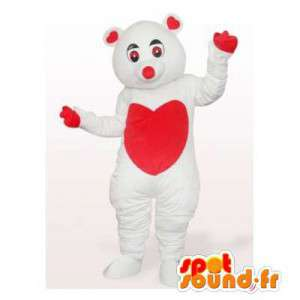 Polar bear mascot with a big red heart on the belly
