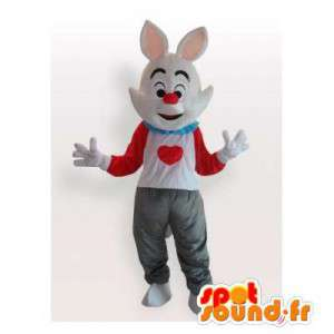 White rabbit mascot dressed in a t-shirt with a heart