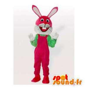 Mascotte de lapin rose. Costume de lapin rose