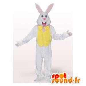 Hvid og gul kanin maskot. Bunny kostume - Spotsound maskot