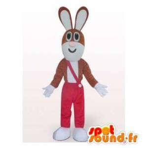 Brun og hvit kanin maskot i...