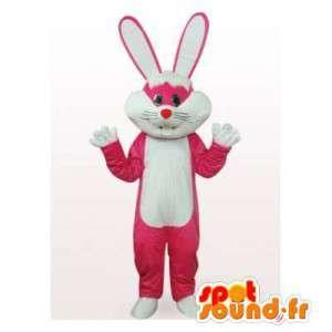 Mascot rosa und weißen Kaninchen.Häschen-Kostüm