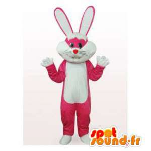 Mascot rosa y el conejo blanco.Traje del conejito