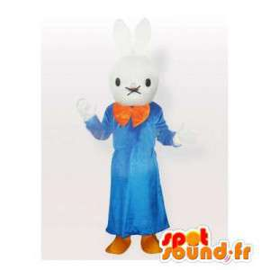 White rabbit mascot in blue dress