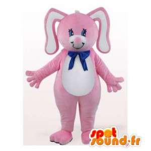 ροζ και λευκό μασκότ κουνελιών. Κοστούμια Κουνέλι