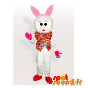 White rabbit mascot with a...