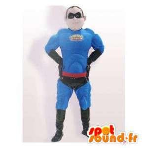 Blå superheltmaskot, muskuløs. Superhelt kostume - Spotsound