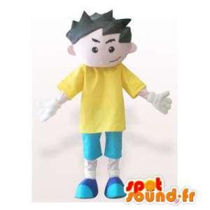 Chłopiec maskotka w kolorze niebieskim i żółtym stroju. kombinezon uczeń