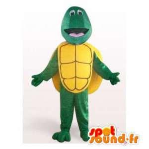 Mascotte de tortue verte et jaune. Costume de tortue