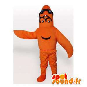 Mascotte d'étoile de mer orange. Costume d'étoile orange