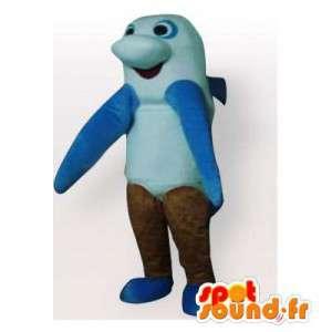 Mascotte de requin bleu, blanc et marron. Costume de dauphin