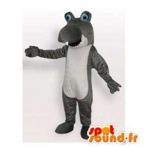 Mascotte de requin gris et blanc. Costume de requin