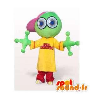 Original rana mascota, verde, amarillo y rojo