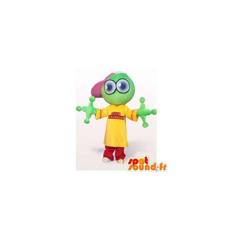 Original mascot frog, green, yellow and red