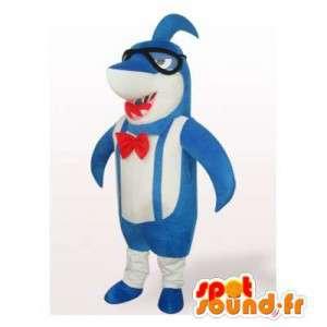Mascotte blauwe en witte haai met een bril