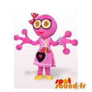Mascotte de grenouille rose, originale