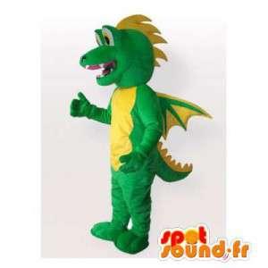 Mascot drago verde e giallo. Drago costume - MASFR006280 - Mascotte drago