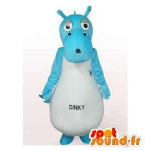 Blauw en wit nijlpaard mascotte