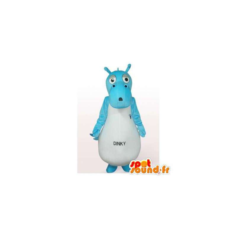 Mascot hippo blue and white - MASFR006281 - Mascots hippopotamus