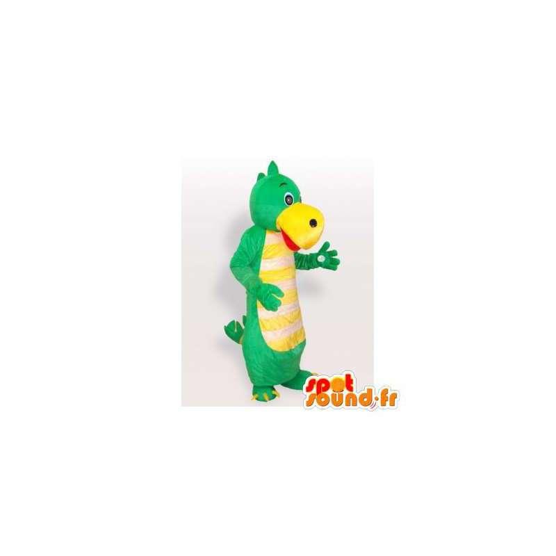 Dinosaur mascot green and yellow. Dinosaur Costume - MASFR006282 - Mascots dinosaur