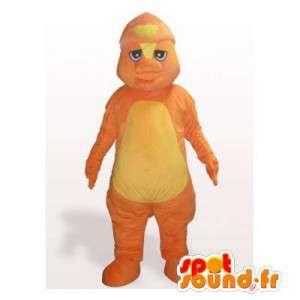 オレンジ色の恐竜のマスコット。恐竜のコスチューム