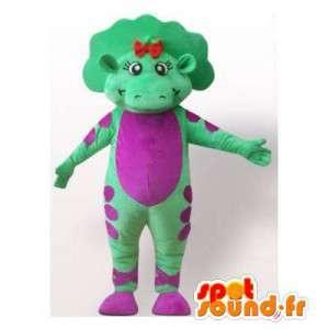 緑と紫の恐竜のマスコット。恐竜のコスチューム