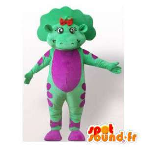 Dinosaur mascotte verde e viola. Dinosaur Costume