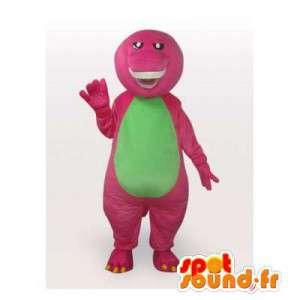 ピンクと緑の恐竜のマスコット。恐竜のコスチューム