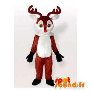 Mascotte de renne marron et blanche. Costume de renne
