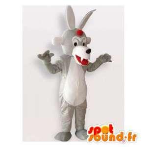 Mascotte de loup gris et blanc. Costume de loup original