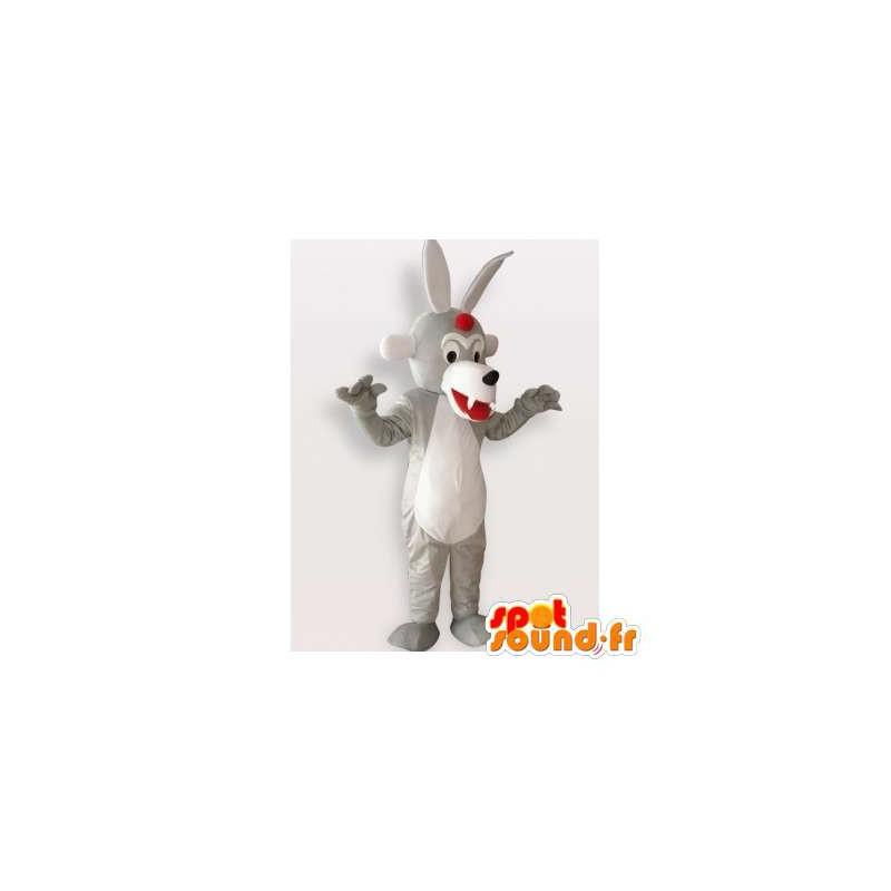 Mascotte de loup gris et blanc. Costume de loup original - MASFR006296 - Mascottes Loup