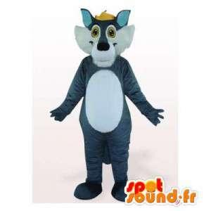 Mascotte de loup bleu et blanc. Costume de loup