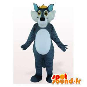 Wolf mascot blue and white. Wolf costume