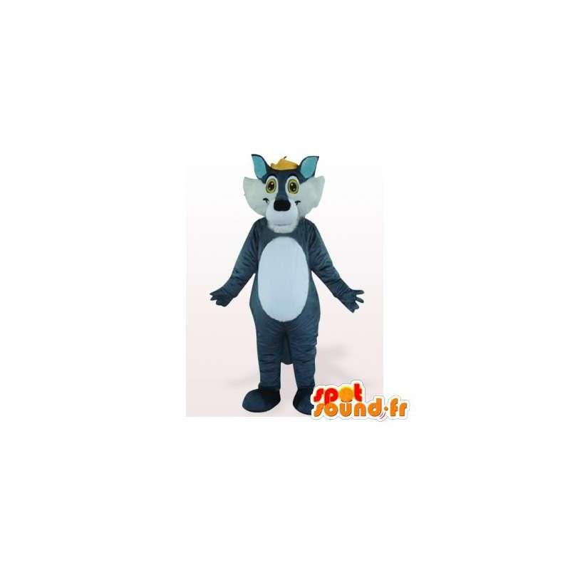 Niebieski i biały wilk maskotka. Kostium wilk - MASFR006298 - wilk Maskotki