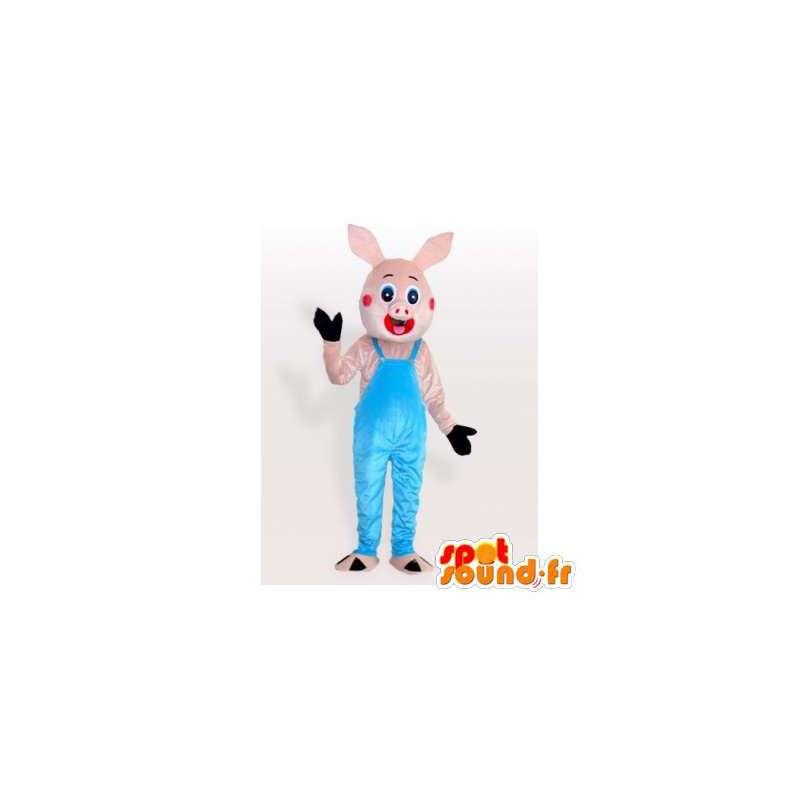 Little pink pig mascot in blue overalls - MASFR006299 - Mascots pig