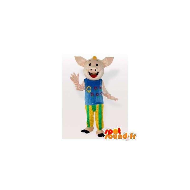 Mascot pig smiling, dressed - MASFR006301 - Mascots pig