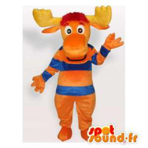 Caribou mascot orange, blue and yellow - MASFR006308 - Animals of the forest