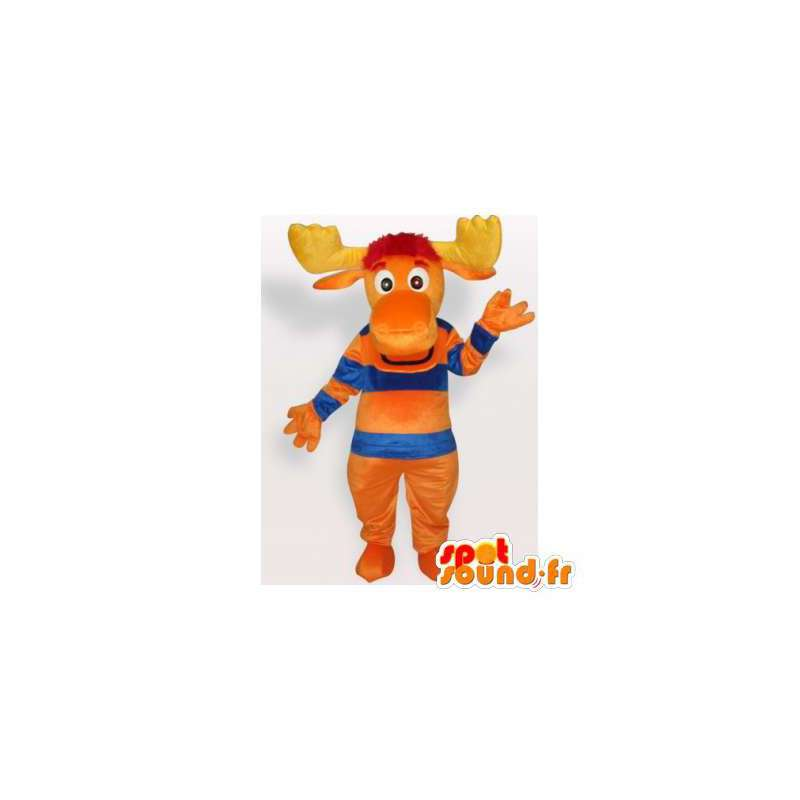 Orange, blå og gul caribou maskot - Spotsound maskot kostume