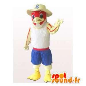 Mascot aquila, avvoltoio, con un cappello da cowboy rosso - MASFR006309 - Mascotte degli uccelli
