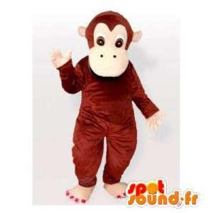 茶色の猿のマスコット、シンプルかつカスタマイズ可能