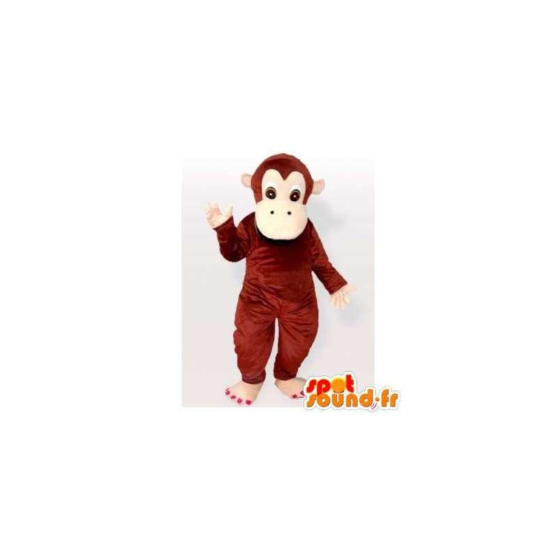 Brown monkey mascot, simple and customizable - MASFR006315 - Mascots monkey