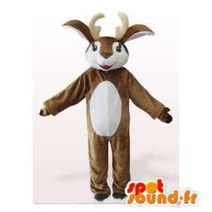 Bruine en witte rendieren mascotte. Reindeer Suit
