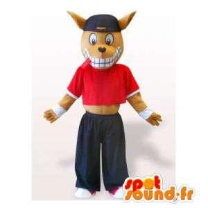 Coyote mascotte in sportkleding. Dog Costume - MASFR006335 - Dog Mascottes