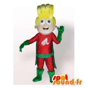 Mascot loira super-herói terno vermelho e verde - MASFR006350 - super-herói mascote