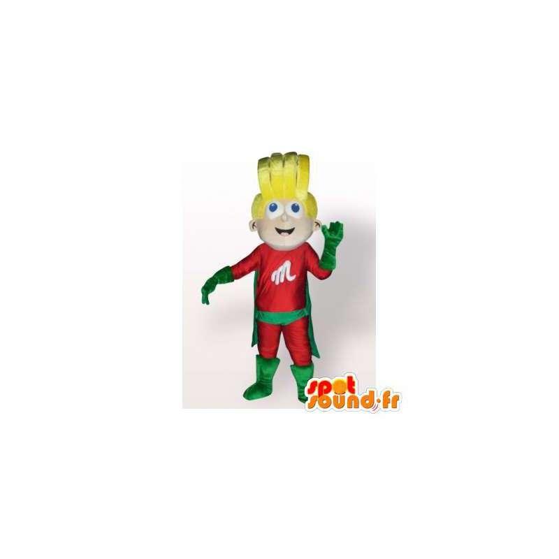 Superhero mascot blonde in red dress and green - MASFR006350 - Superhero mascot