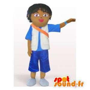 Mascotte d'écolier brun. Costume de garçon