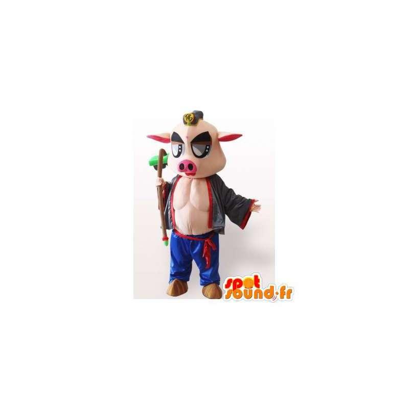 Maskottchen-Schwein Muskel-und Original - MASFR006354 - Maskottchen Schwein