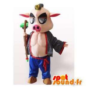 Pig mascot muscular and original - MASFR006354 - Mascots pig